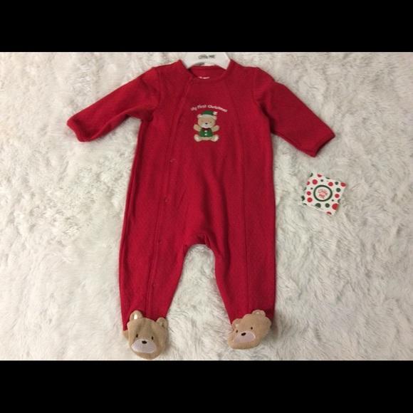 Little Me Warm Fleece Baby Pajamas Footed Blanket Sleeper Footie Red Flowers 9 Months